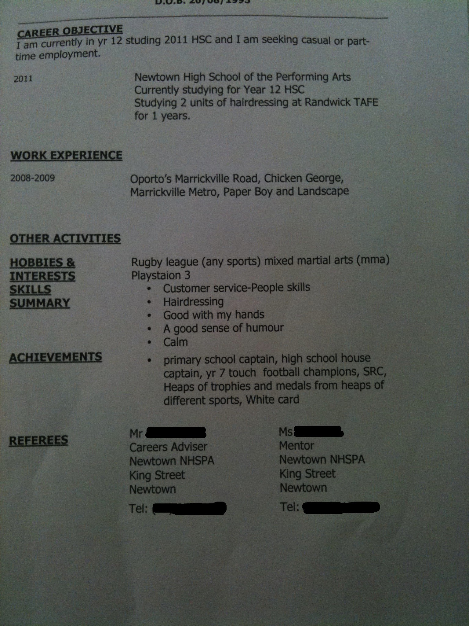the worst resume ever  possibly being melodramatic but
