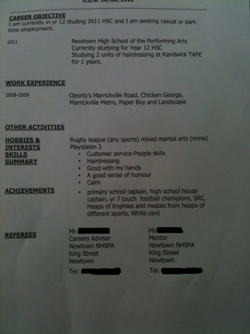 the worst resume ever possibly being melodramatic but whatever